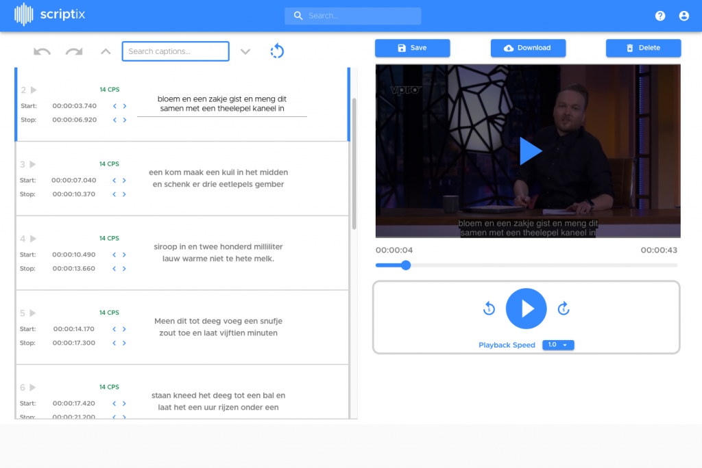 Preview of subtitling with Scriptix